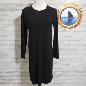 Eileen Fisher button back black dress